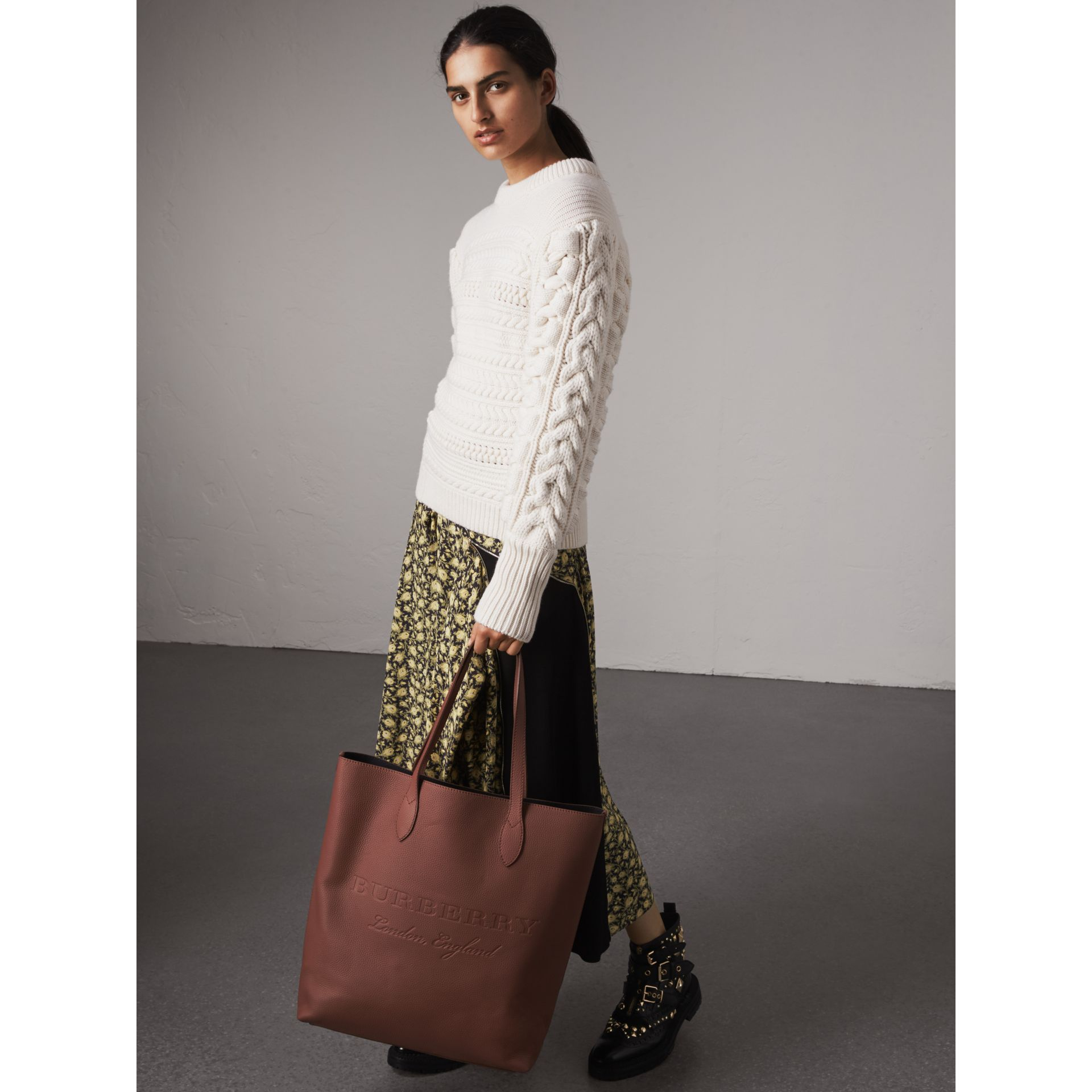 Embossed Leather Tote in Chestnut Brown | Burberry Australia - gallery image 2