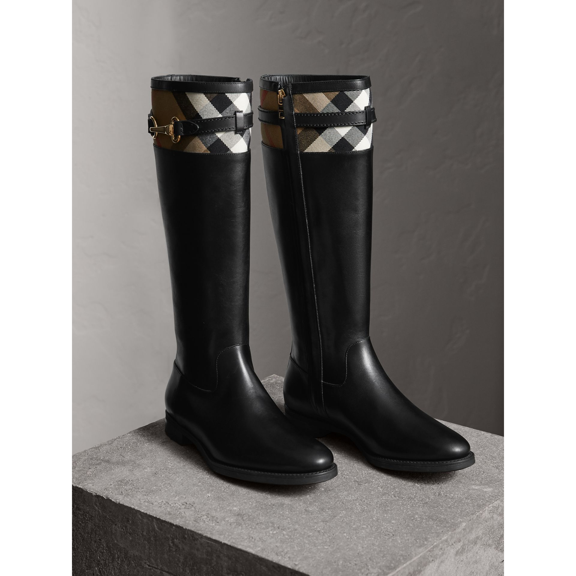 House Check Detail Riding Boots in Black - Women | Burberry United Kingdom - gallery image 4