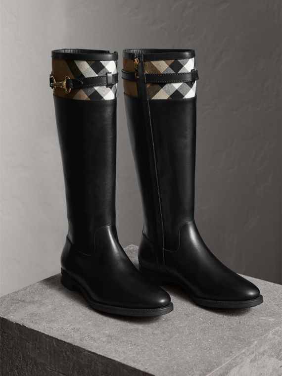 House Check Detail Riding Boots in Black - Women | Burberry - cell image 3