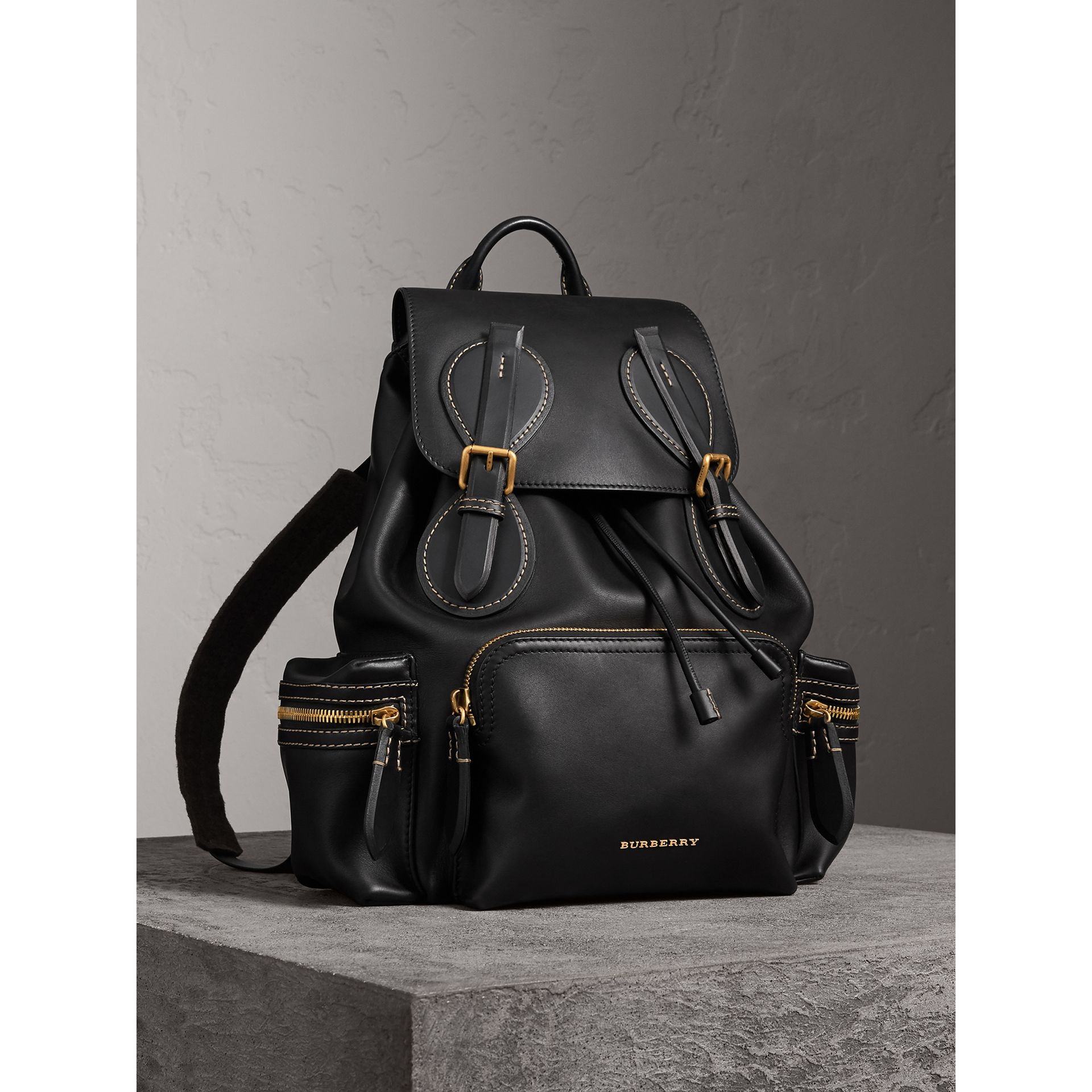 The Large Rucksack in Topstitched Leather in Black | Burberry - gallery image 1