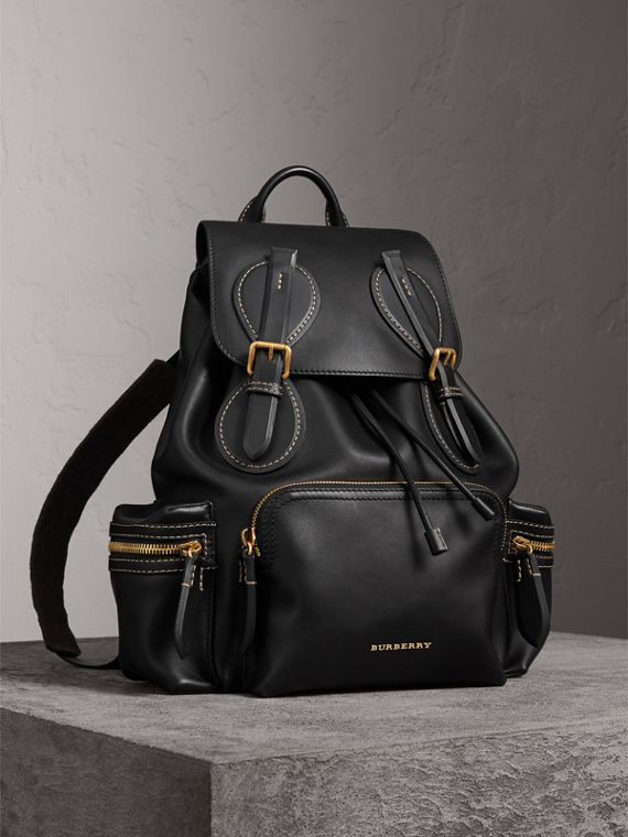 The Large Rucksack in Topstitched Leather in Black