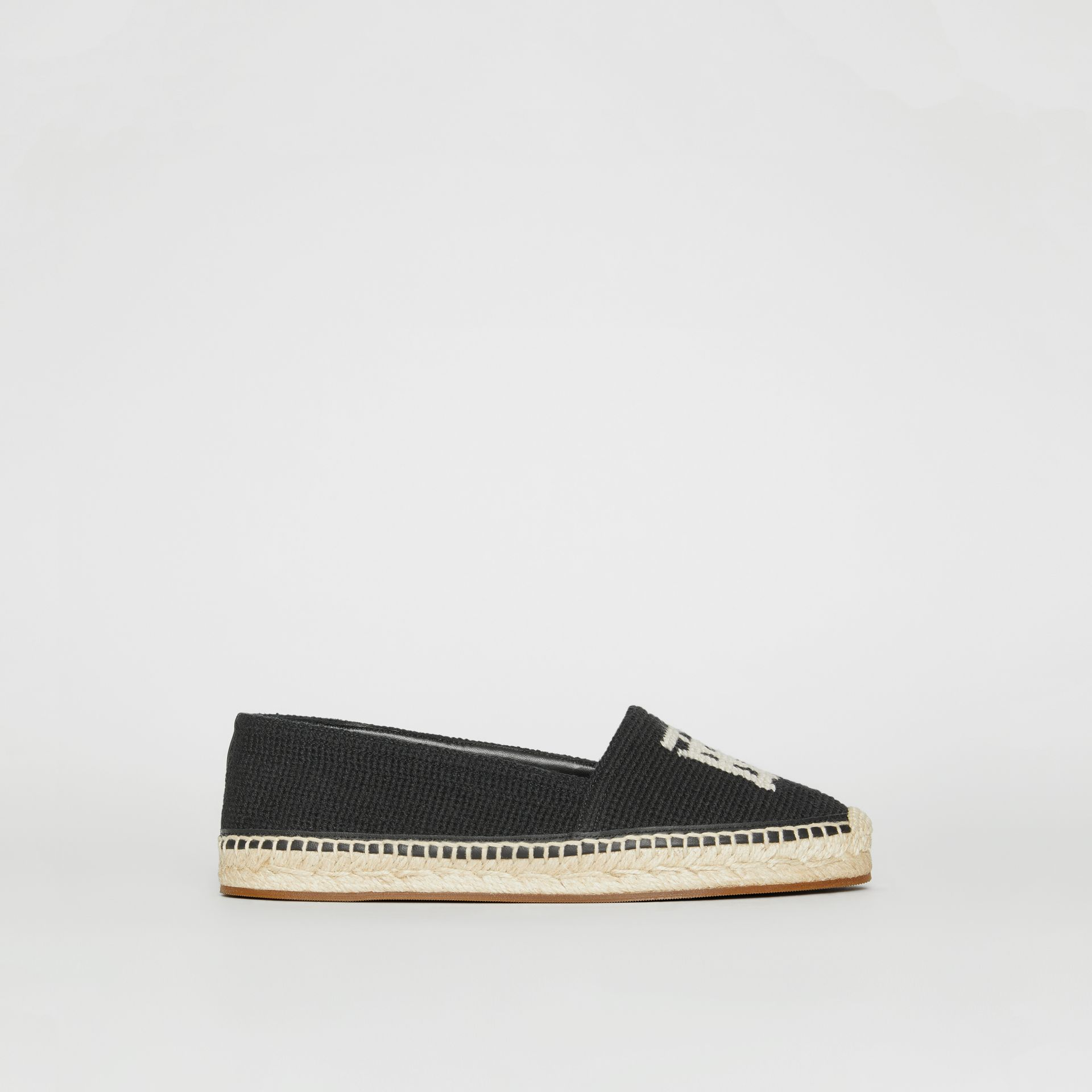 Monogram Motif Cotton and Leather Espadrilles in Black/ecru - Women | Burberry - gallery image 4