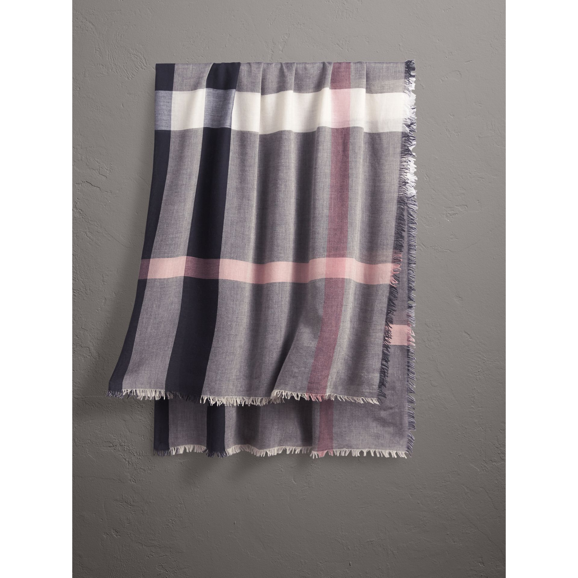 Check Modal and Wool Square Scarf in Antique Rose - Women | Burberry United Kingdom - gallery image 1