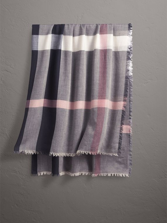 Check Modal and Wool Square Scarf in Antique Rose