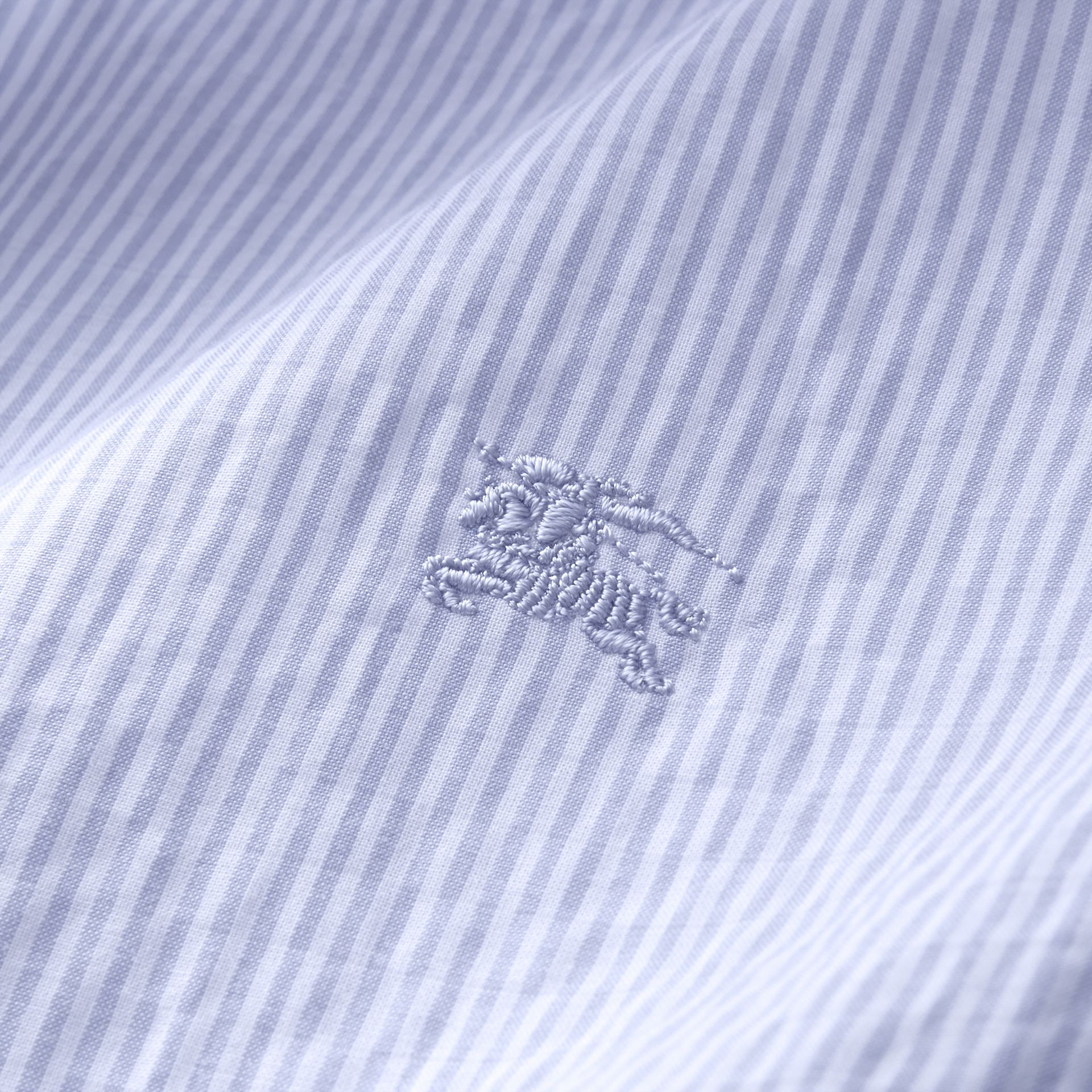 Short-sleeve Striped Cotton Seersucker Shirt in Light Blue - Men | Burberry - gallery image 2