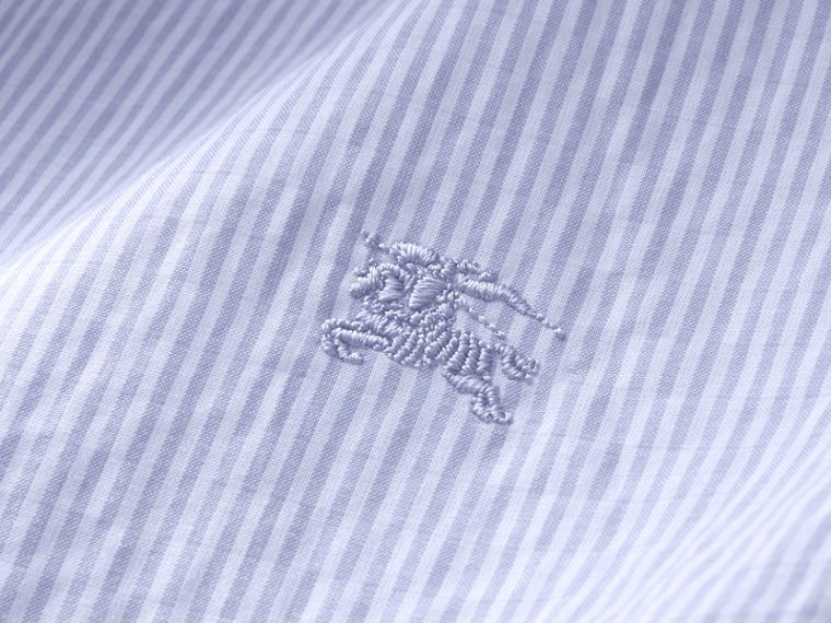 Short-sleeve Striped Cotton Seersucker Shirt in Light Blue - Men | Burberry - cell image 1