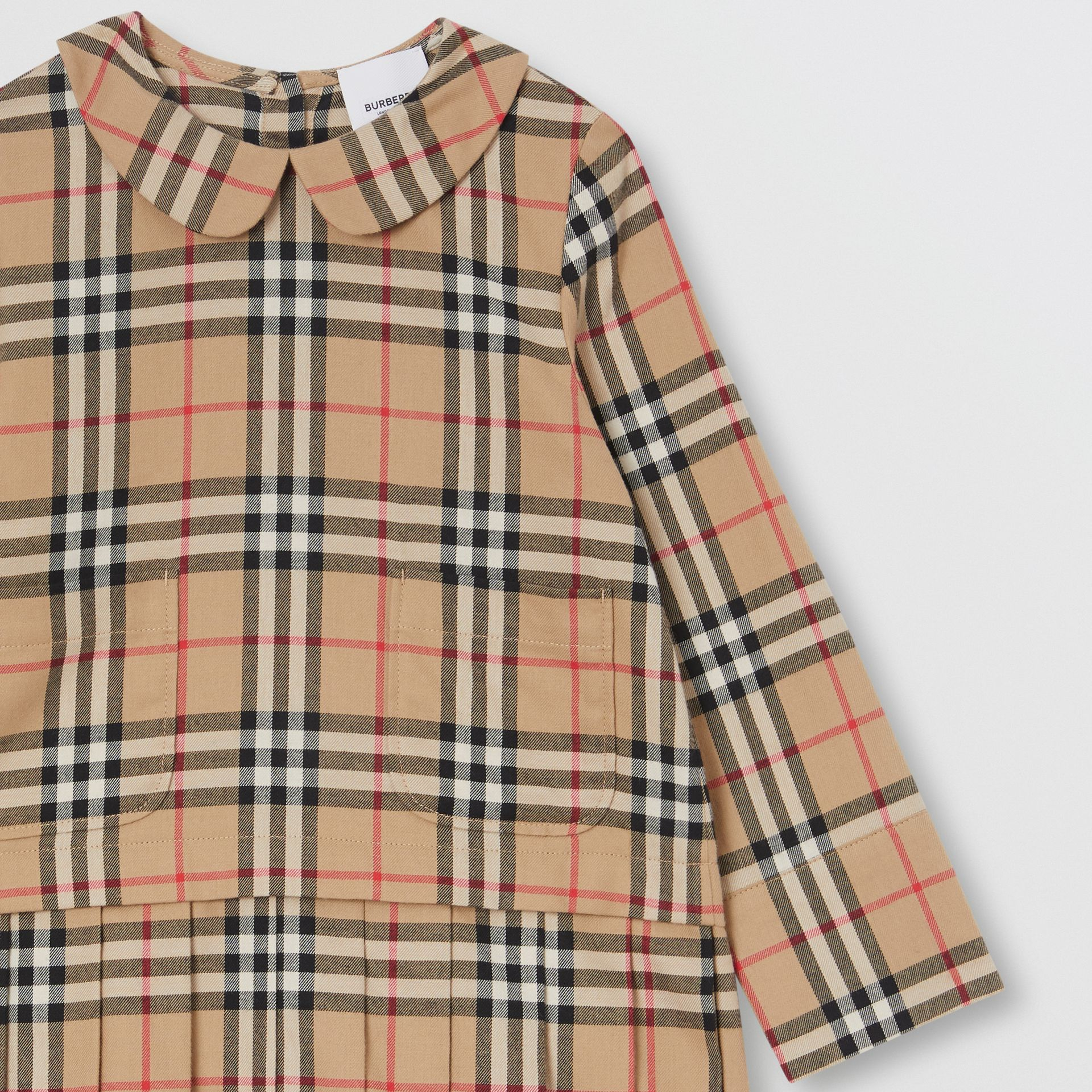 Peter Pan Collar Vintage Check Cotton Dress in Archive Beige | Burberry - gallery image 4