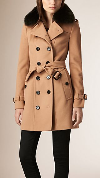 Fox Fur Collar Wool Cashmere Trench Coat