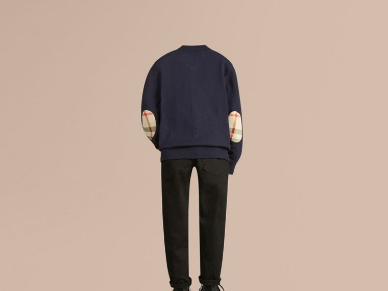 Check Elbow Patch Bomber Cardigan in Navy - Boy | Burberry Singapore - cell image 2