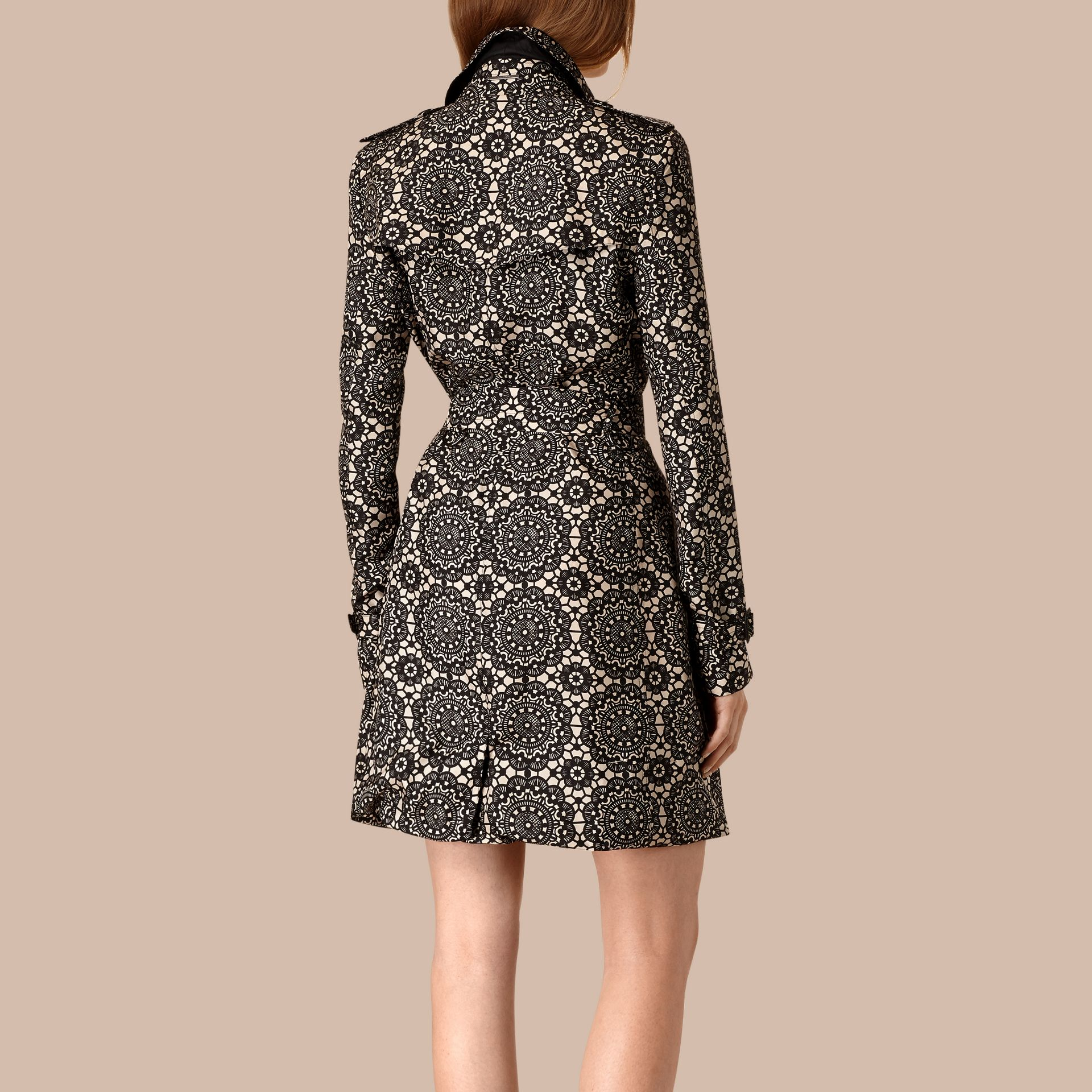 Stone/black Lace Print Unlined Silk Trench Coat - gallery image 2
