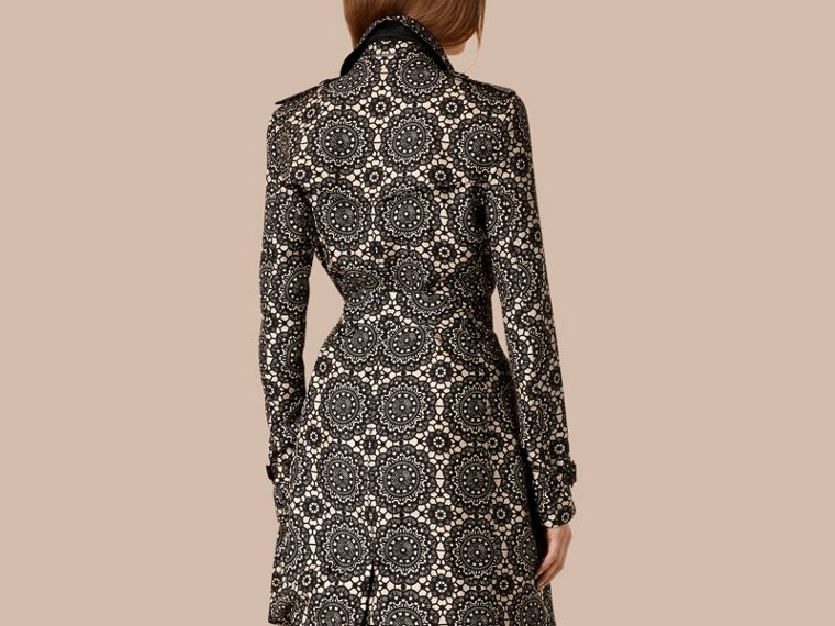 Stone/black Lace Print Unlined Silk Trench Coat - cell image 1