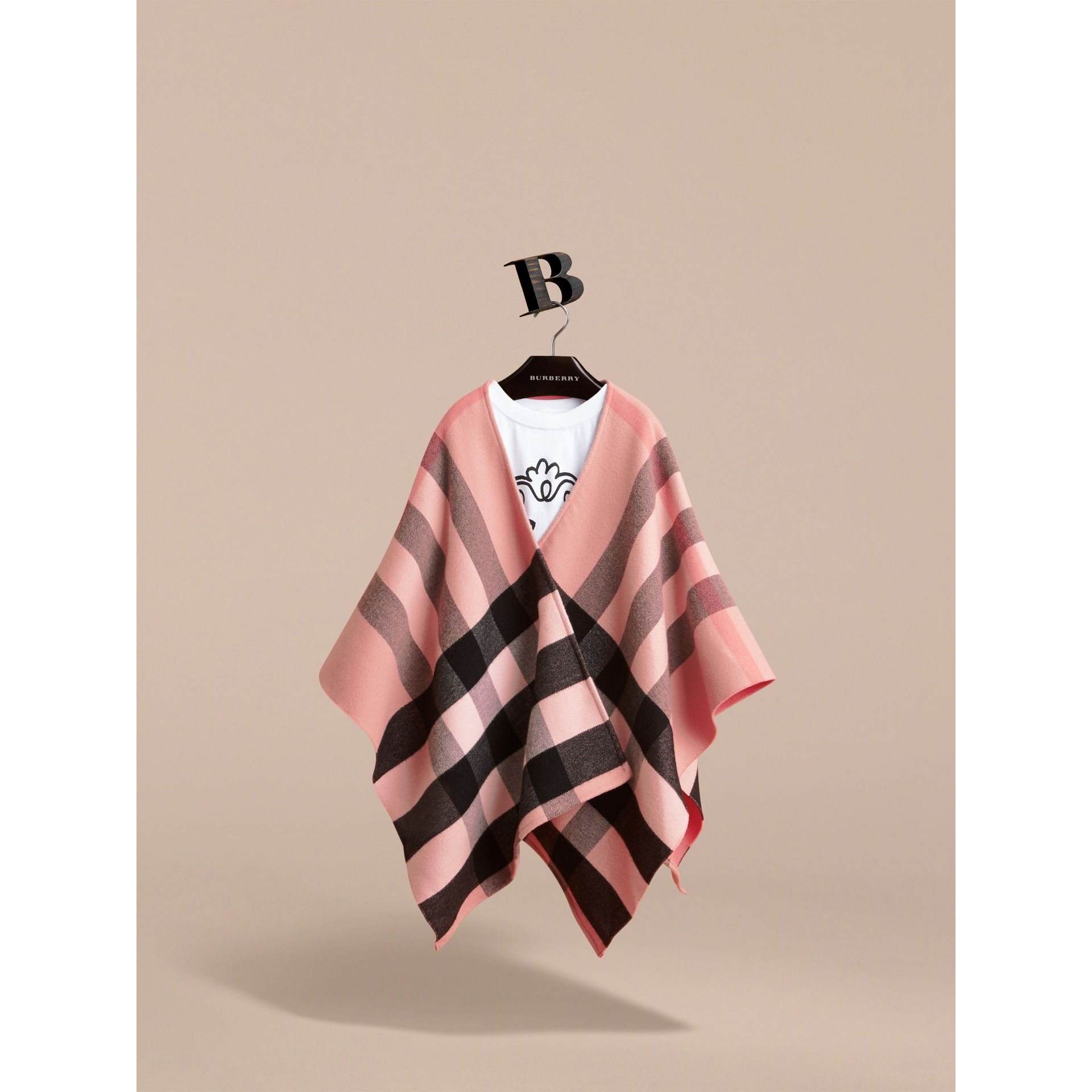 Check Wool Poncho in Ash Rose | Burberry - gallery image 2
