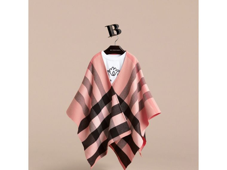 Check Wool Poncho in Ash Rose | Burberry - cell image 1