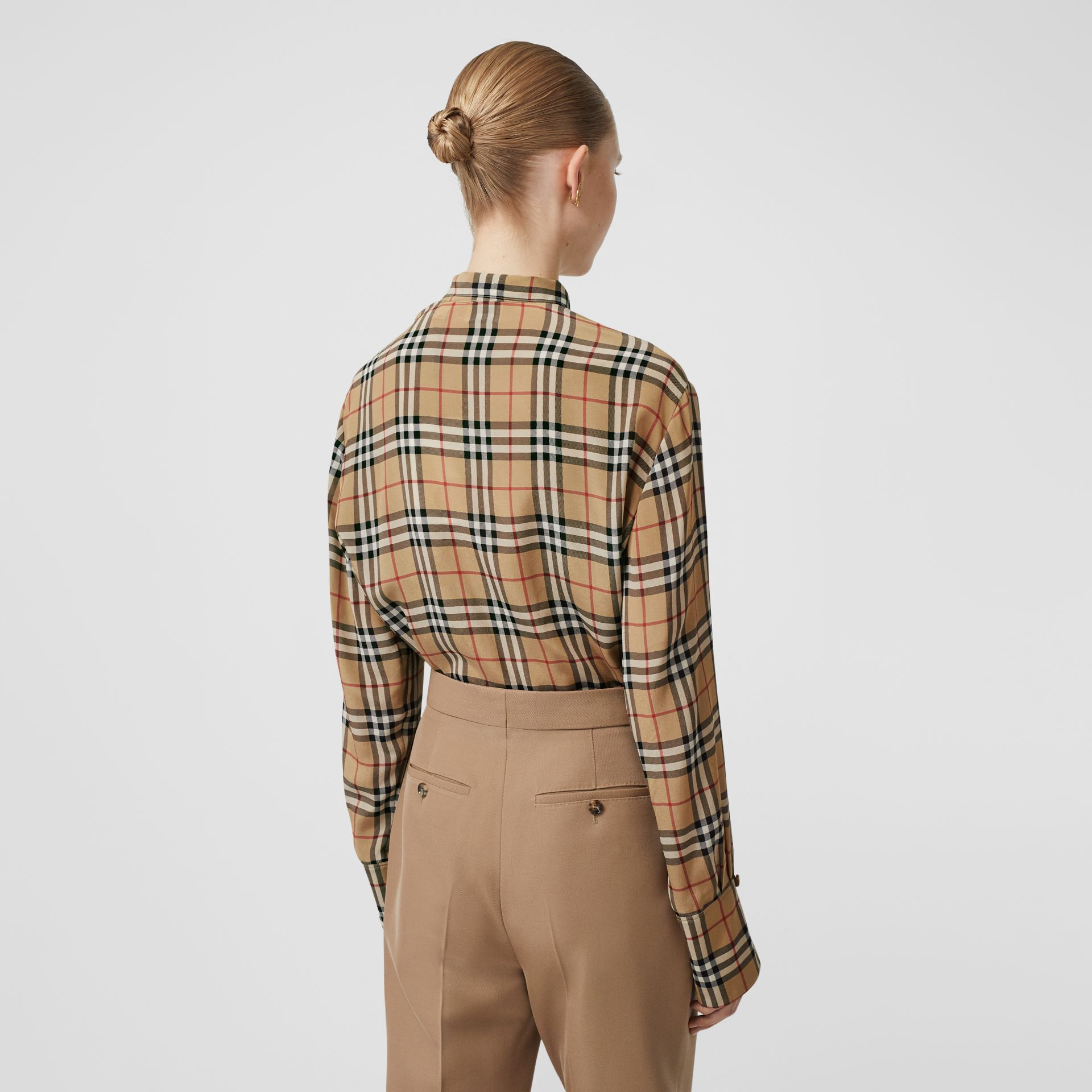 Vintage Check Silk Tie-neck Shirt in Archive Beige - Women | Burberry - gallery image 2