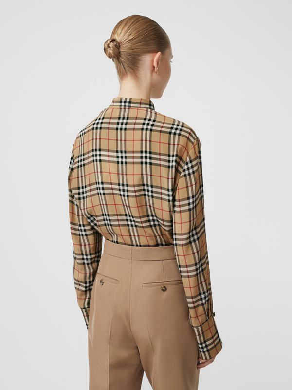 Vintage Check Silk Tie-neck Shirt in Archive Beige - Women | Burberry United States - cell image 2