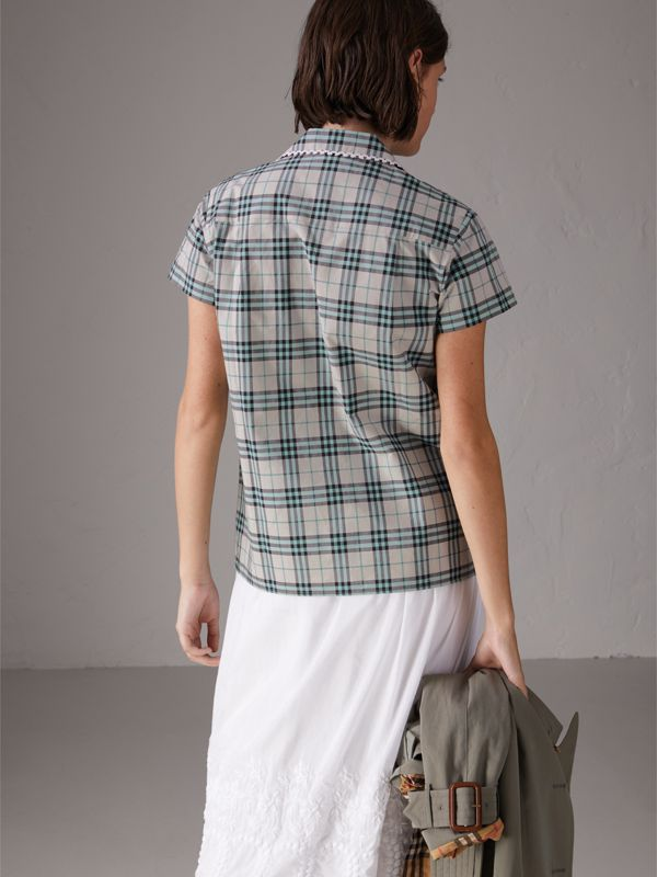 Short-sleeve Lace Trim Check Cotton Shirt in Pale Stone - Women | Burberry - cell image 2