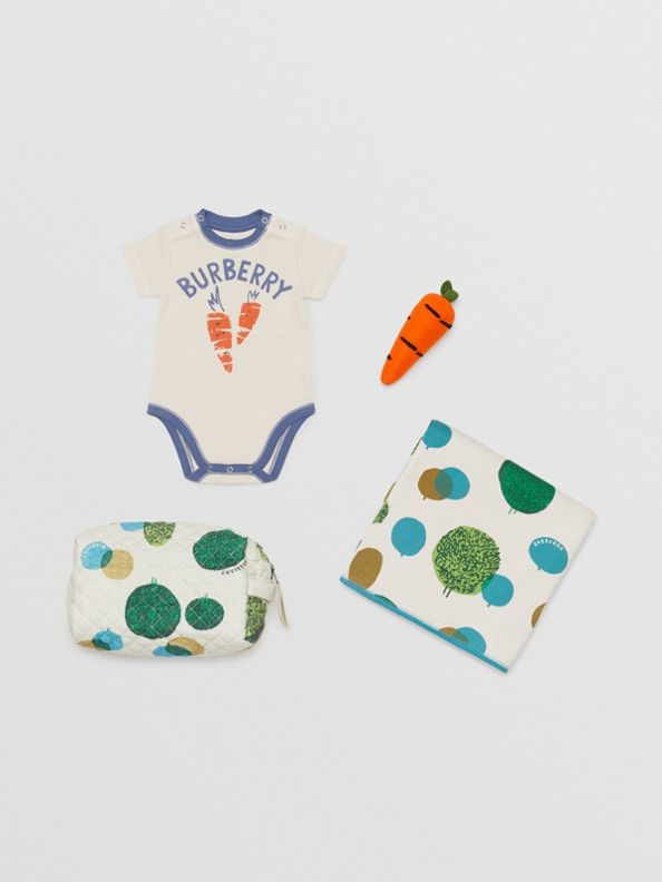 Carrot and Tree Print Three-piece Baby Gift Set in Stone