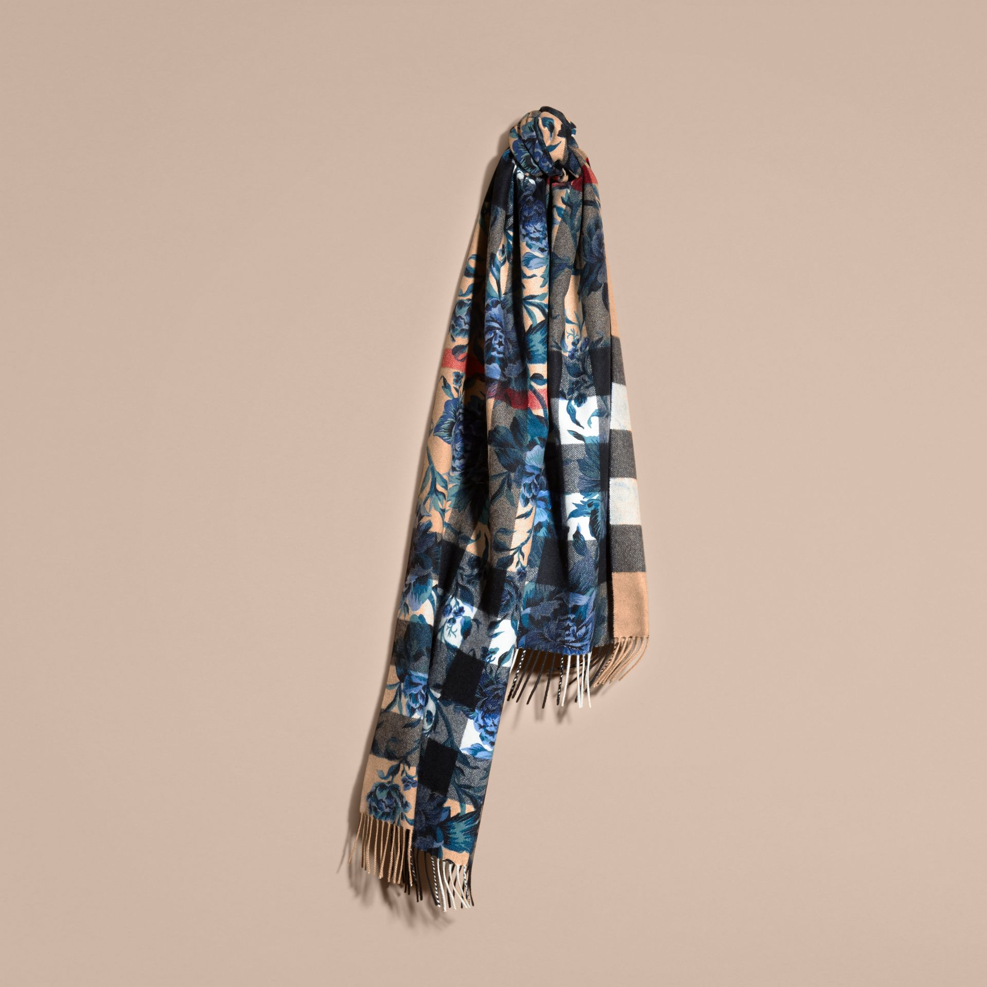 Reversible Floral Print and Check Cashmere Scarf - gallery image 6