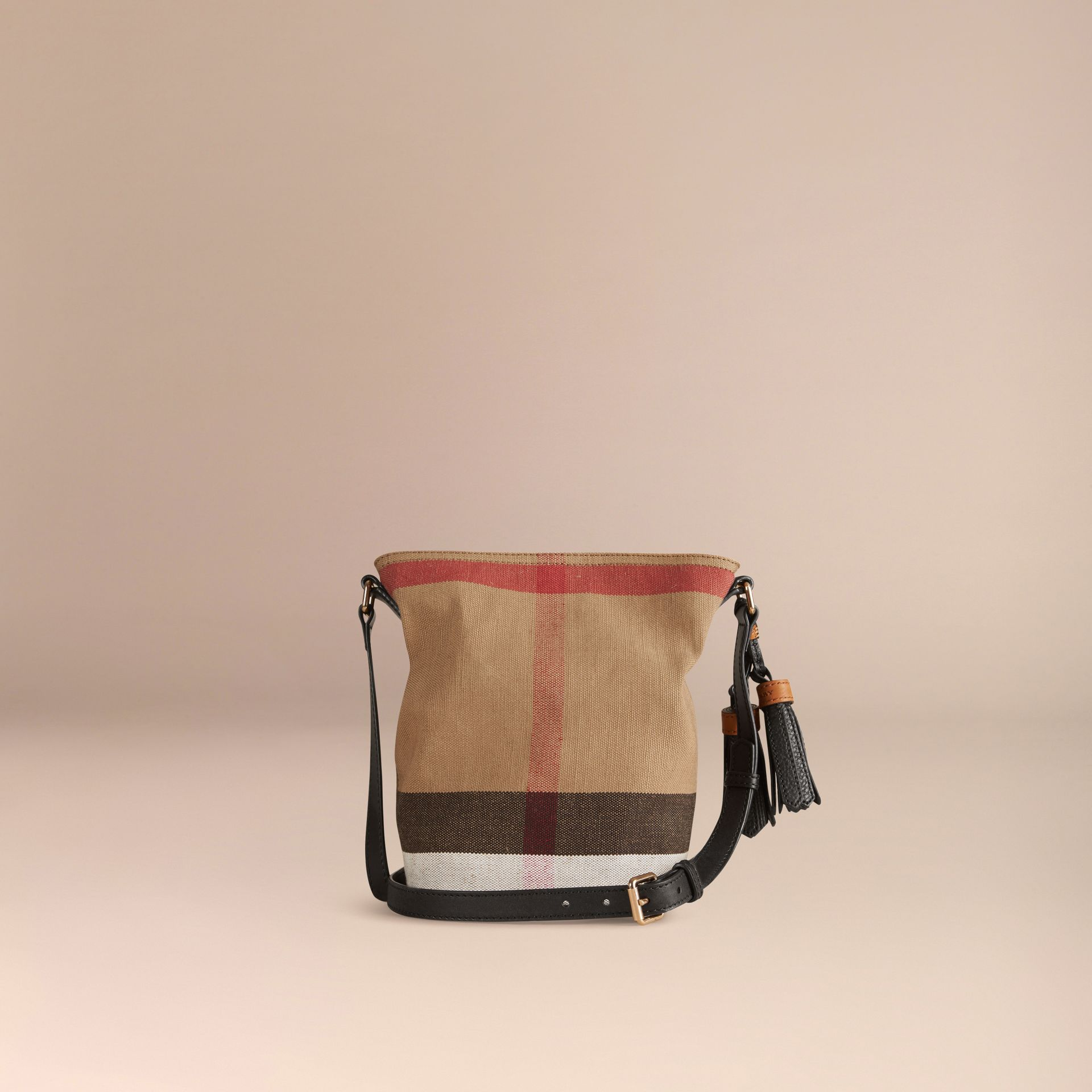 The Small Ashby in Canvas Check and Leather Black - gallery image 4