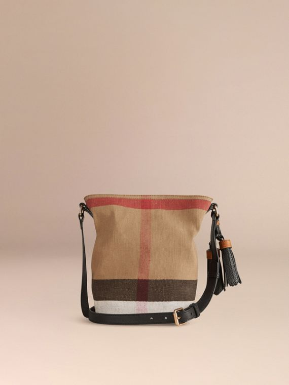 The Small Ashby in Canvas Check and Leather Black - cell image 3