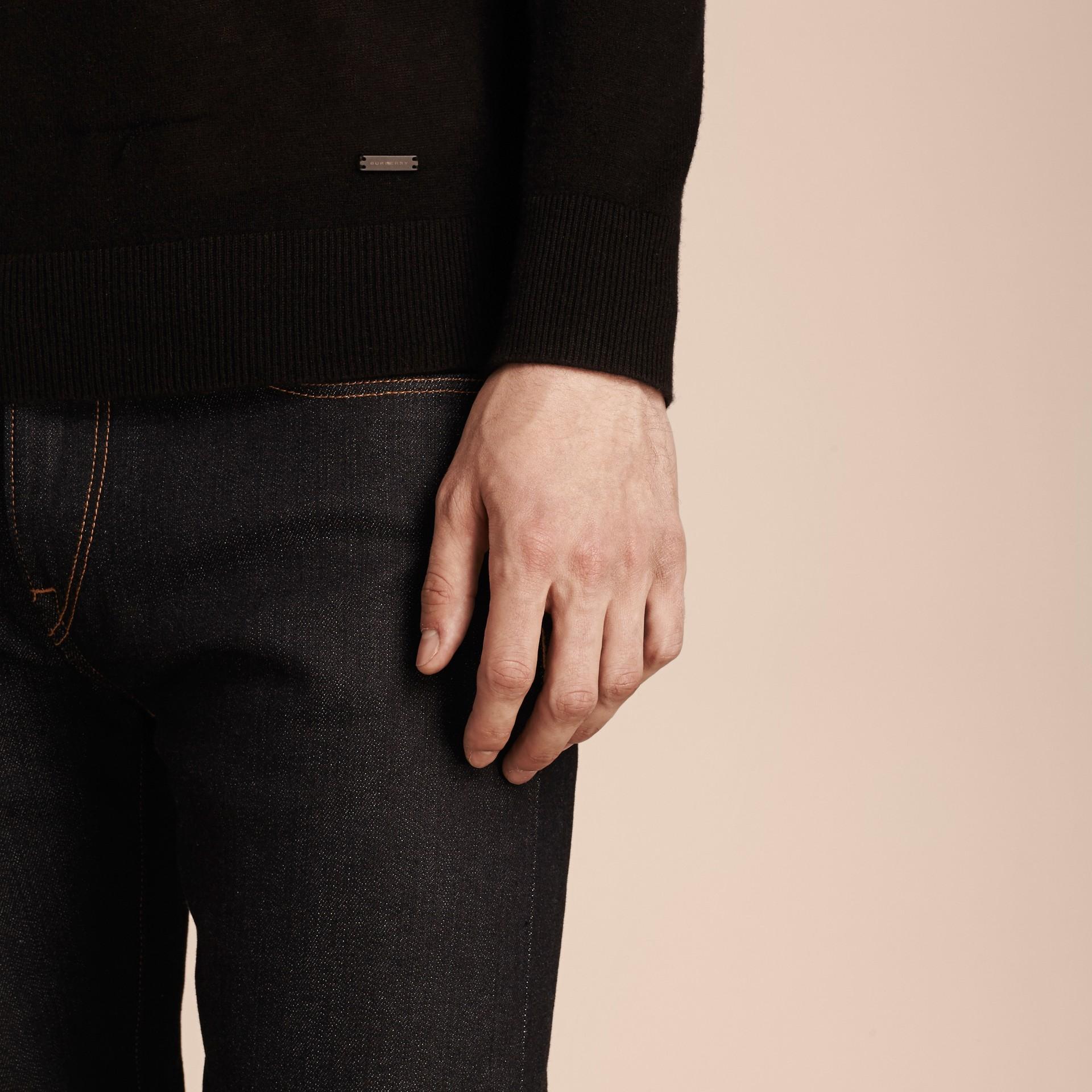 ブラック カシミア Vネックセーター ブラック - ギャラリーイメージ 5