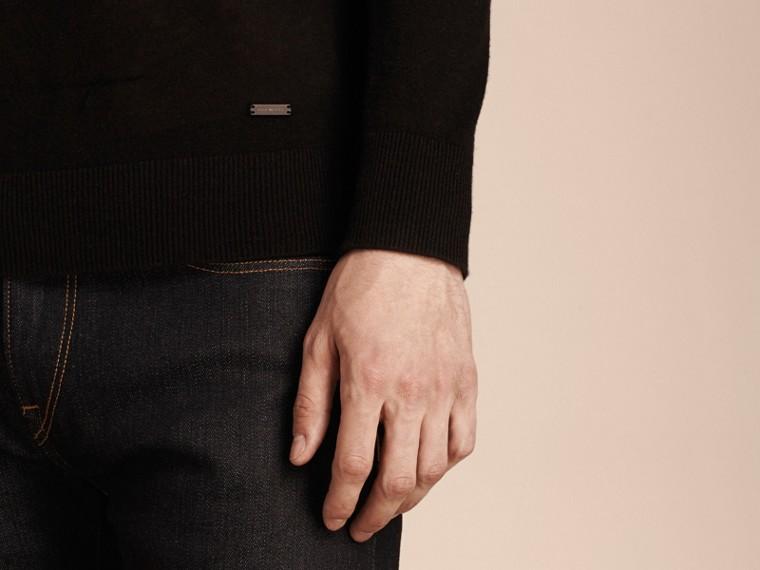 黑色 喀什米爾 V 領套頭衫 黑色 - cell image 4