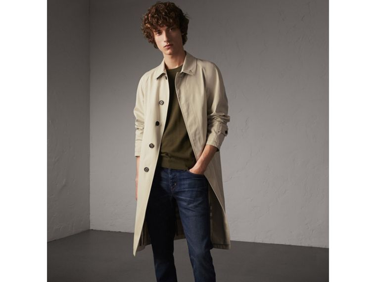 Straight Fit Brushed Denim Jeans in Vintage Blue - Men | Burberry - cell image 4