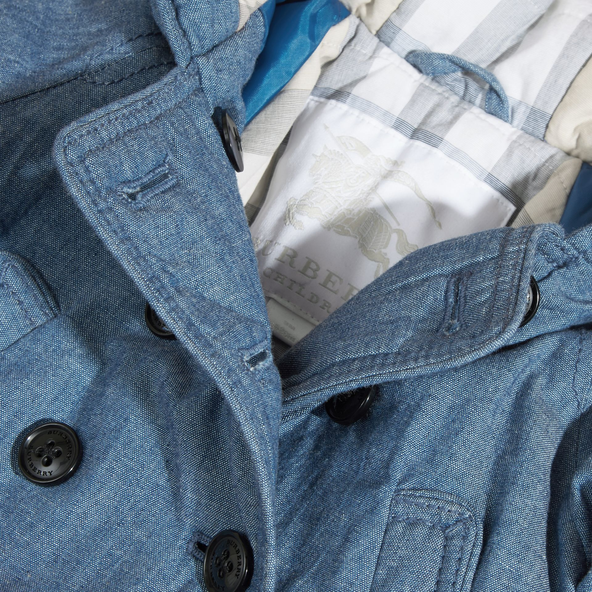 Stone blue Hooded Denim Jacket - gallery image 2
