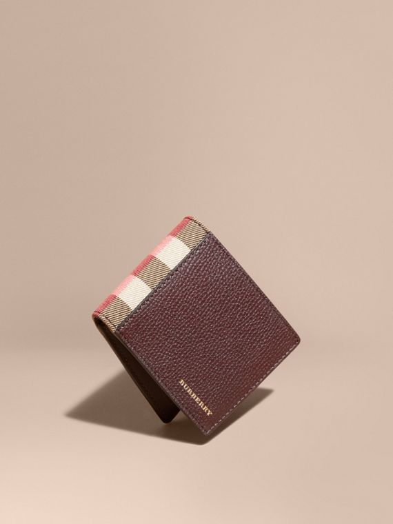 Grainy Leather and House Check Bifold Wallet Wine