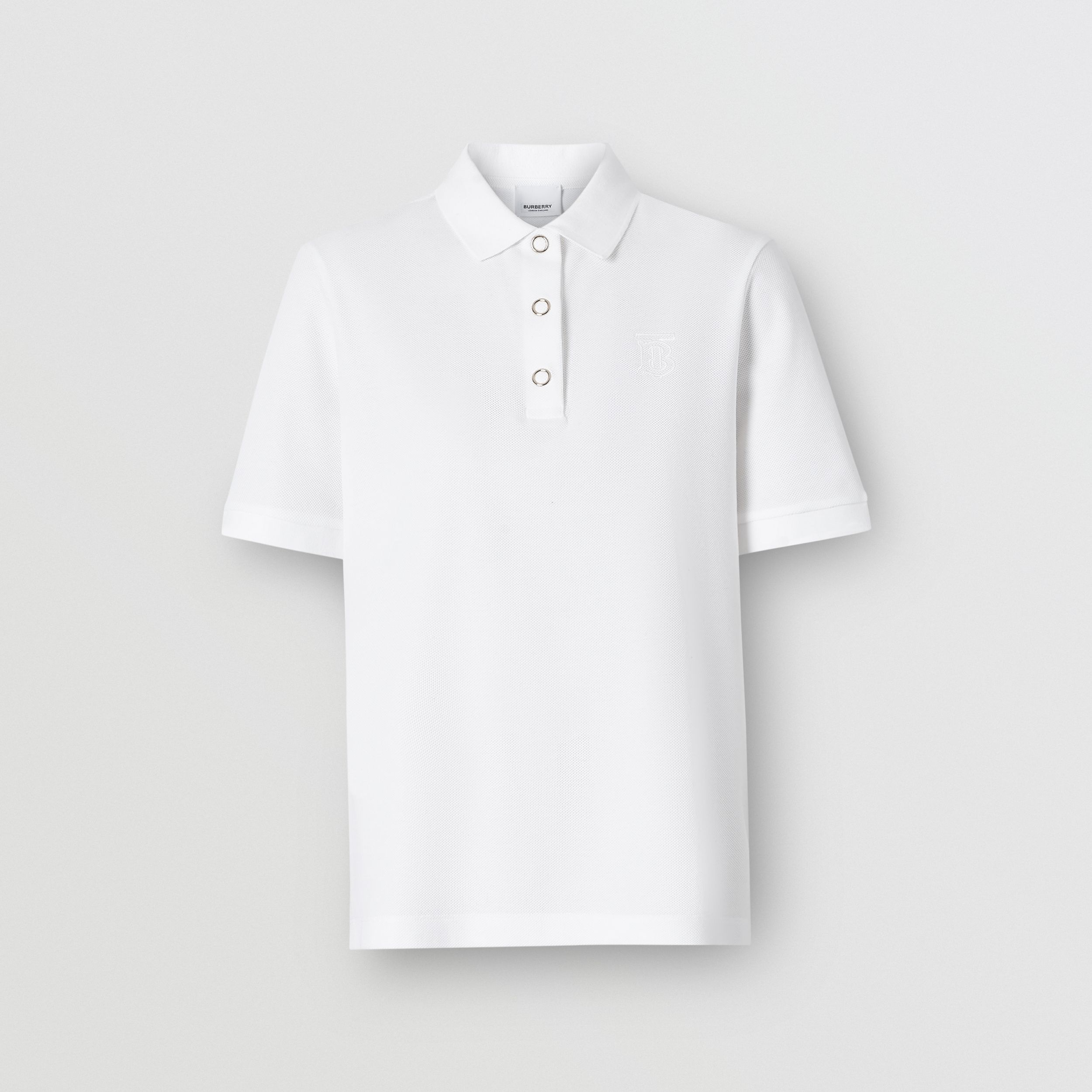 Monogram Motif Cotton Piqué Polo Shirt in White - Women | Burberry - 4