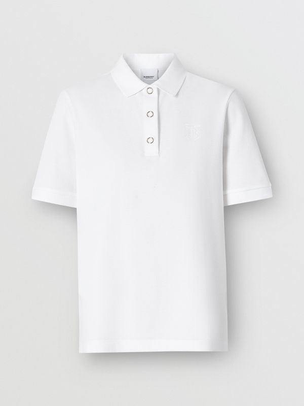 Monogram Motif Cotton Piqué Polo Shirt in White - Women | Burberry United Kingdom - cell image 3