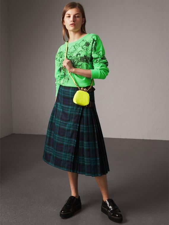 Sweatshirt aus Baumwolle mit Doodle-Motiv (Helles Apfelgrün)