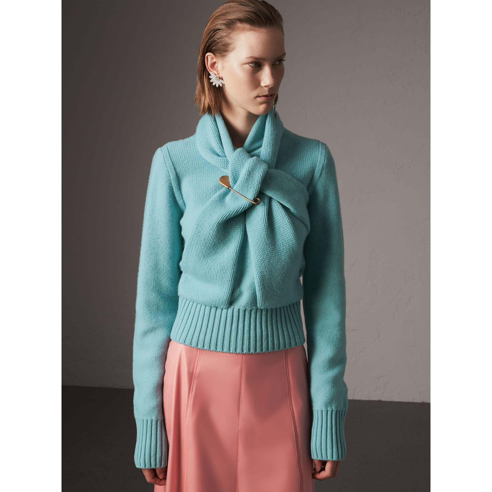 Cashmere Tie-neck Sweater in Powder Blue - Women | Burberry - gallery image 4