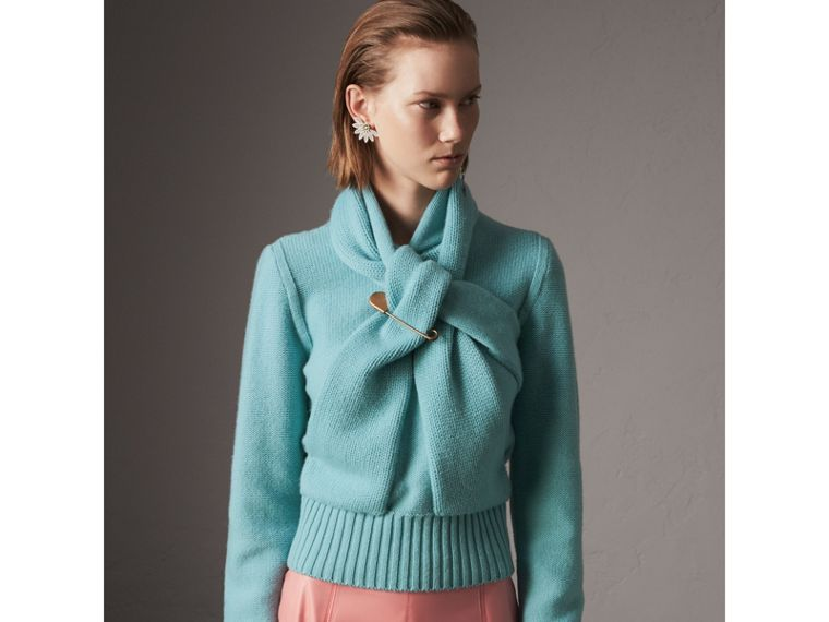 Cashmere Tie-neck Sweater in Powder Blue - Women | Burberry - cell image 4
