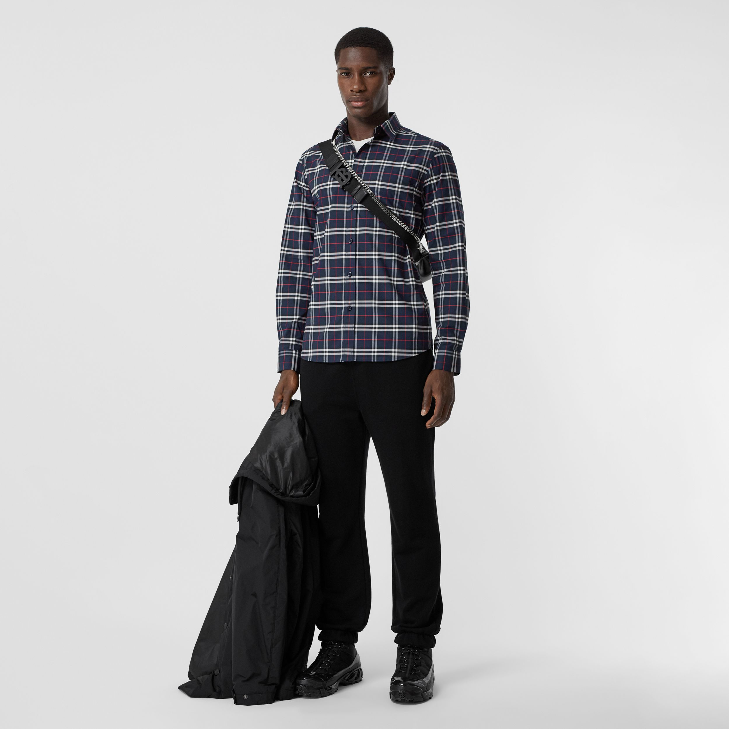 Small Scale Check Stretch Cotton Shirt in Navy - Men | Burberry - 1