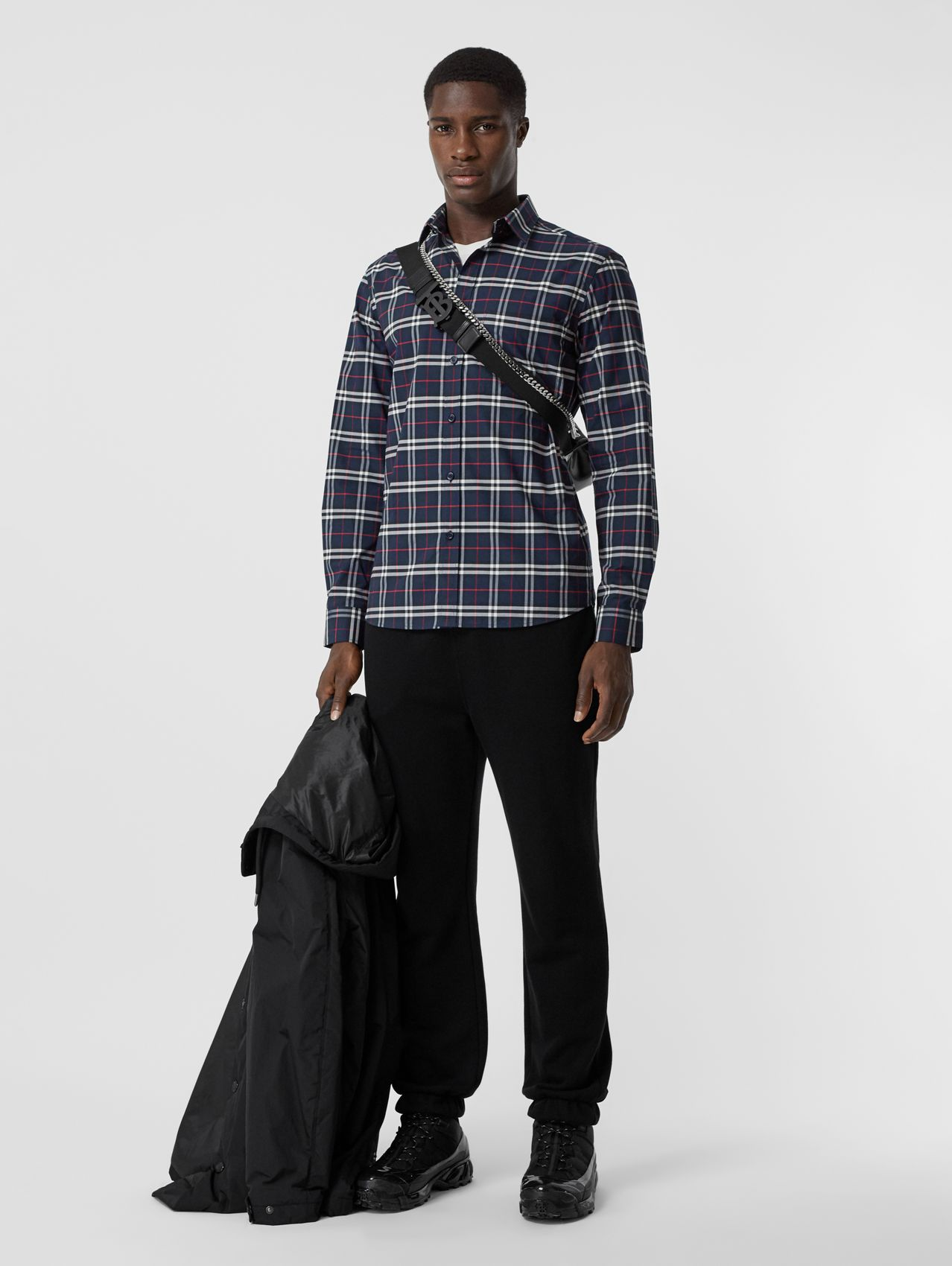Small Scale Check Stretch Cotton Shirt in Navy