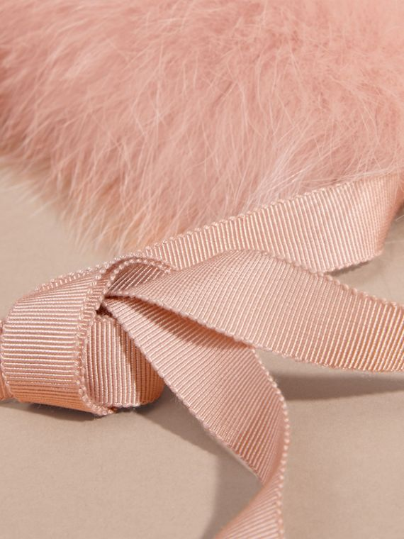 Fox Fur Collar with Check Cashmere Lining in Ash Rose - Women | Burberry - cell image 3