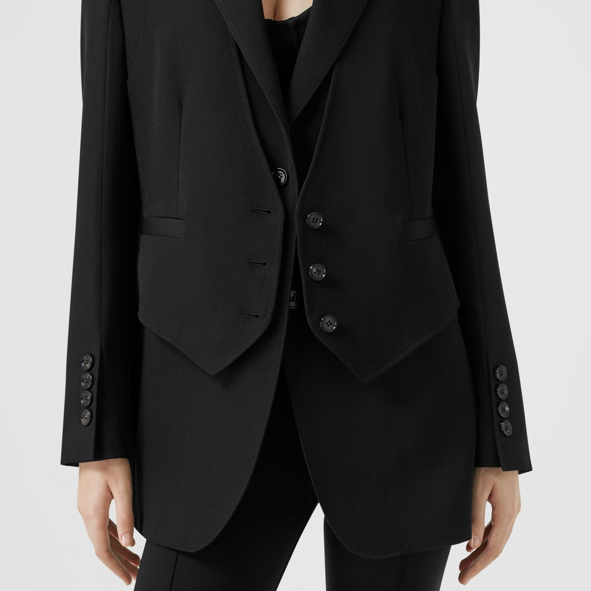 Waistcoat Detail Wool Tailored Jacket in Black - Women | Burberry - gallery image 4