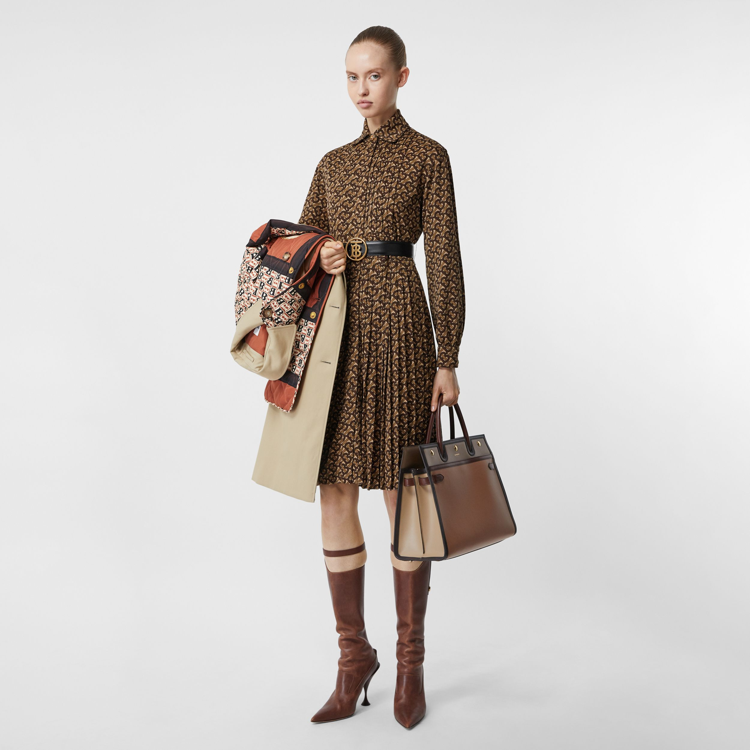 Pleated Monogram Print Jersey Tie-waist Shirt Dress in Bridle Brown - Women | Burberry - 1