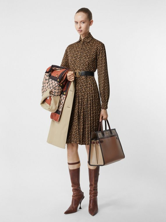 Pleated Monogram Print Jersey Tie-waist Shirt Dress in Bridle Brown