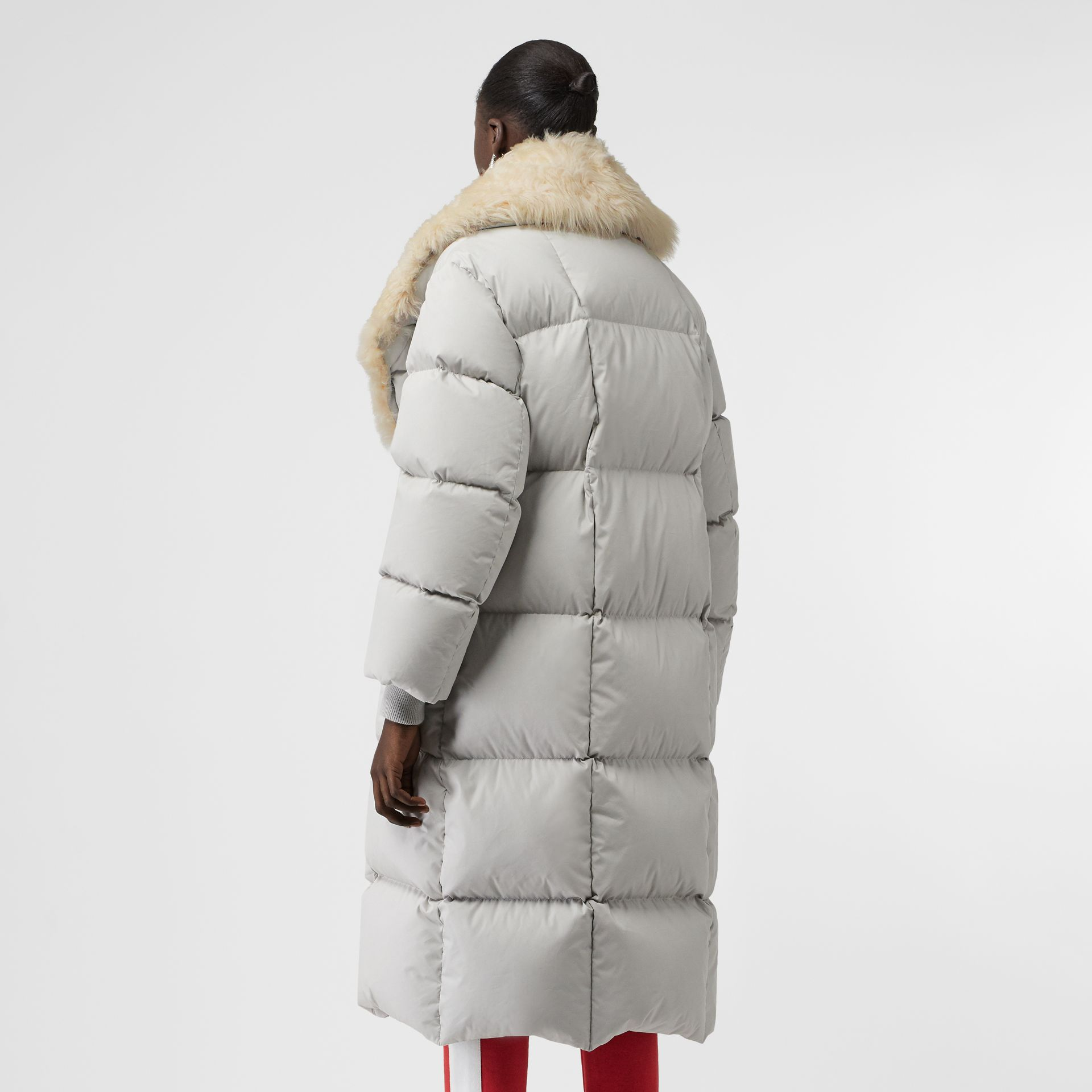 Detachable Shearling Collar Down-filled Puffer Coat in Pale Grey - Women | Burberry United States - gallery image 2