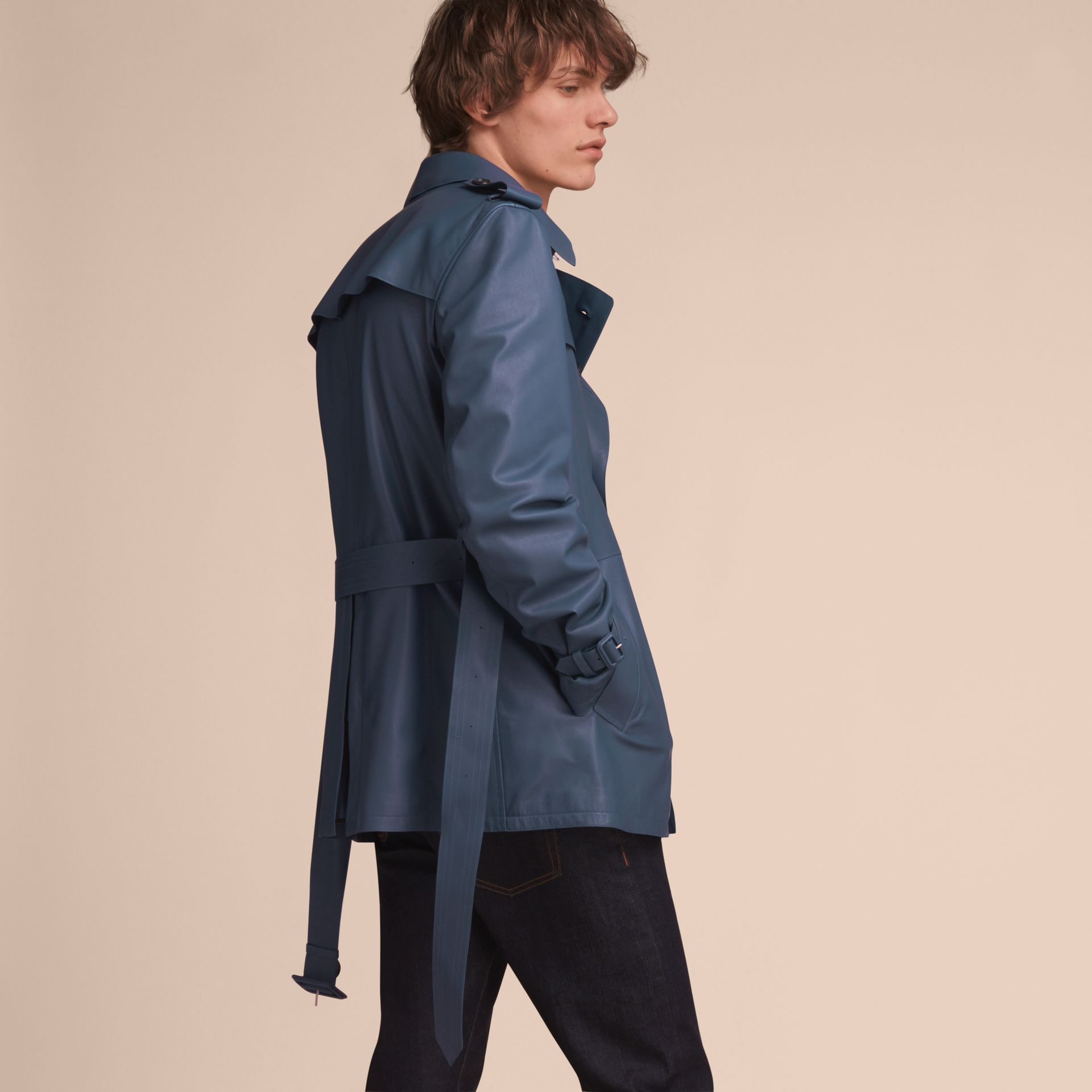 Short Leather Trench Coat - gallery image 3