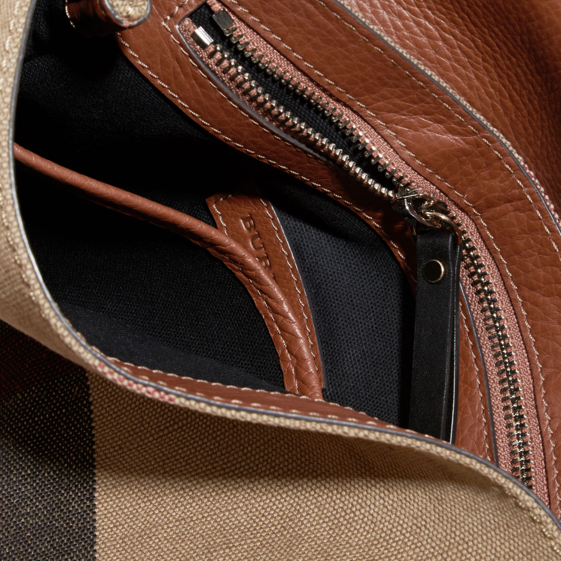 Tan Canvas Check and Leather Crossbody Bag - gallery image 5