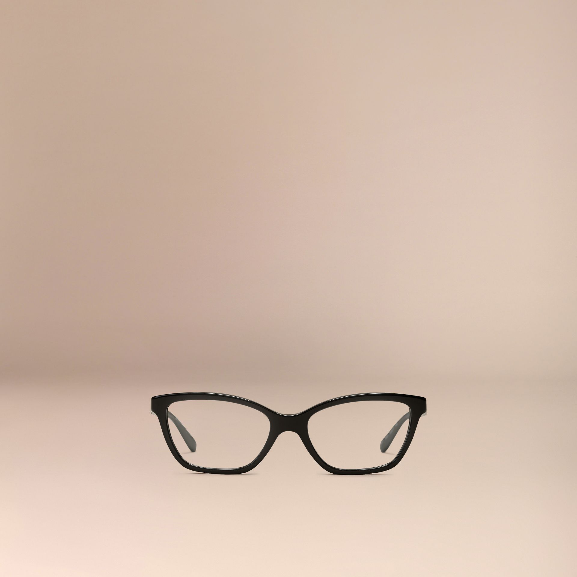Black Check Detail Cat-eye Optical Frames Black - gallery image 2