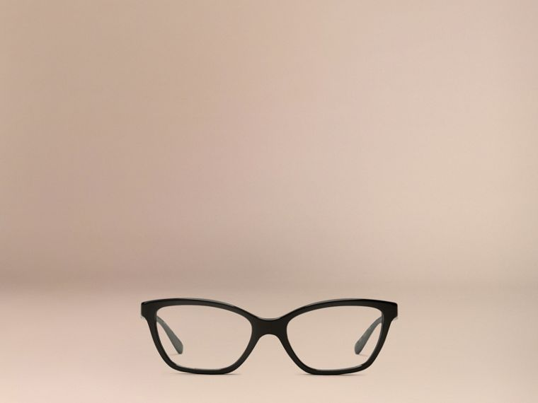 Black Check Detail Cat-eye Optical Frames Black - cell image 1