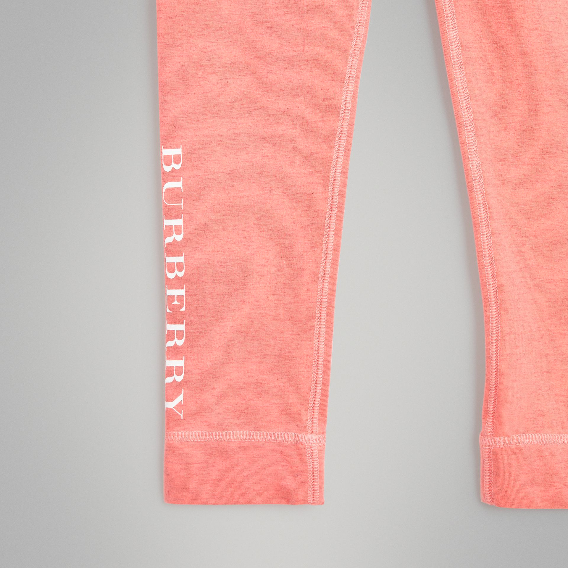 Logo Print Stretch Cotton Leggings in Pale Pink | Burberry Singapore - gallery image 4
