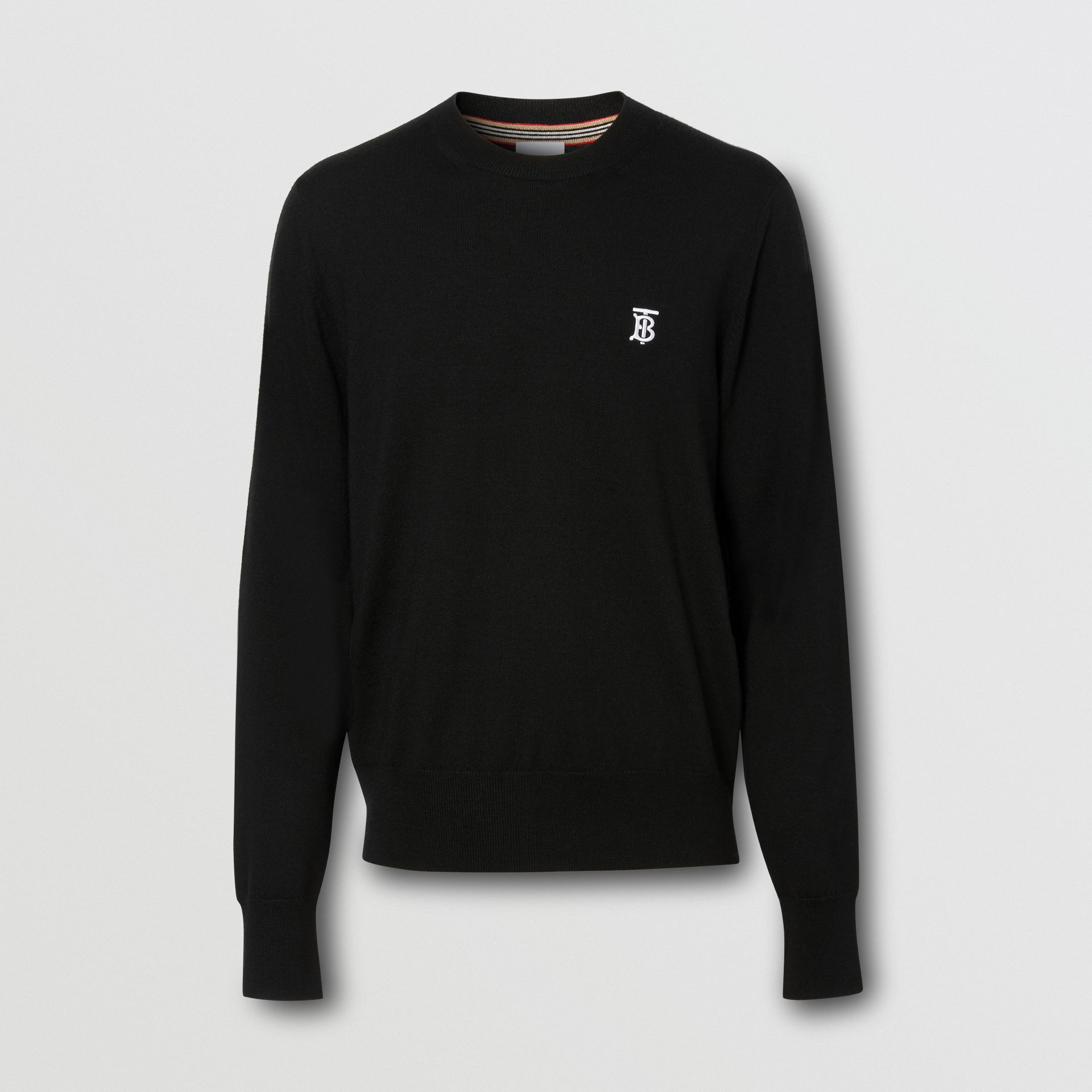 Monogram Motif Merino Wool Sweater in Black - Men | Burberry Australia - gallery image 3
