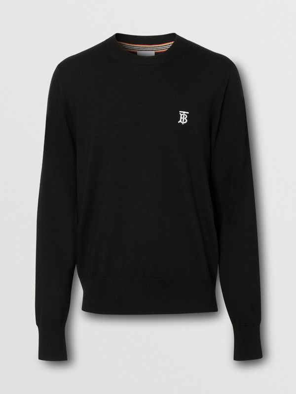 Monogram Motif Merino Wool Sweater in Black - Men | Burberry Australia - cell image 3