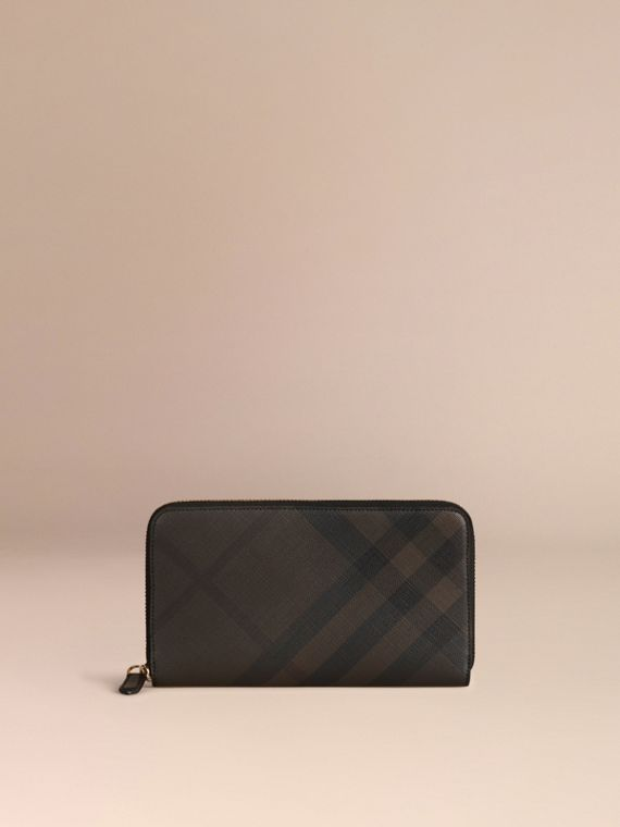 Chocolate/black London Check Ziparound Wallet Chocolate/black - cell image 2