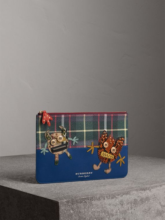 Creature Appliqué Leather Pouch in Deep Blue - Men | Burberry Australia - cell image 3